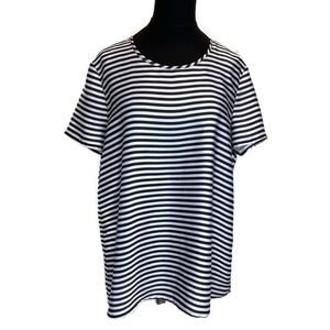 Michael Kors Navy & White Striped Top Large